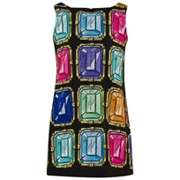Moschino Kid-Teen Black All Over Multi Jewel Print Crepe Dress 81061