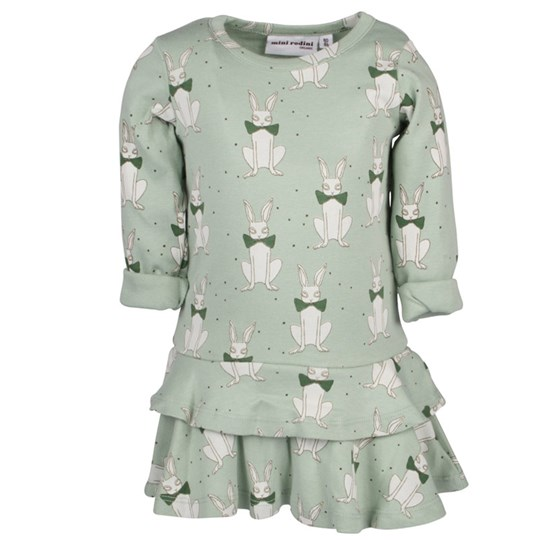 Mini Rodini Rabbit Dress Green Green