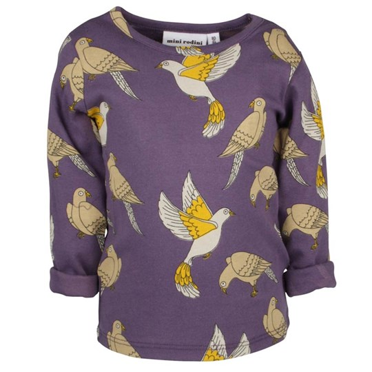 Mini Rodini Doves L/S Tee Purple Purple