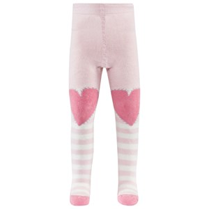 Image of Falke Pink Stripe Crawler Tights W Hearts On Knees And Catspads 62-68 (3-6 months) (2995682559)