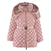 Microbe by Miss Grant Pink Diamond Quilted Long Line Coat With Faux Fur Collar 617