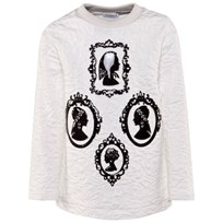 Dolce & Gabbana White Jacquard Sweater with Black Patent Lazer Cut Silhouette W0111