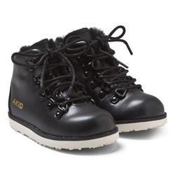 AKID Black Faux Fur And Leather Lace Up Boot