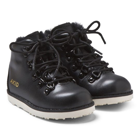 AKID Black Faux Fur And Leather Lace Up Boot Black Fur