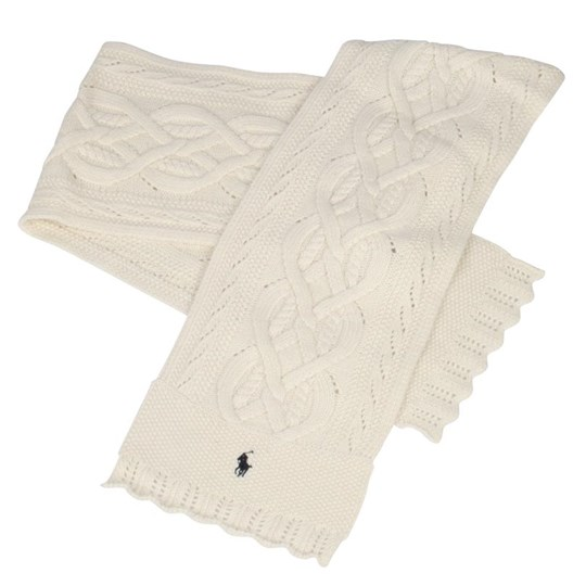 Ralph Lauren Cable Scarf Chic Cream White