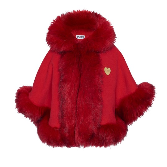 Bandit`s Girl Red Faux Fur Cape Red