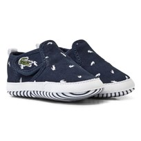 Lacoste Navy Croc Print Gazon Crib Shoes 092 NVY/WHT