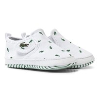 Lacoste White Croc Print Gazon Crib Shoes 1R5 WHT/DK GRN