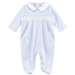Kissy Kissy Pale Blue Smocked Collared Footed Baby Body