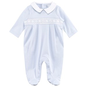 Image of Kissy Kissy Pale Blue Smocked Collared Footed Baby Body 6-9 months (2743798973)