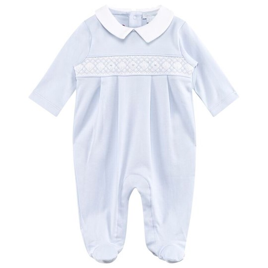 Kissy Kissy Pale Blue Smocked Collared Footed Baby Body LB
