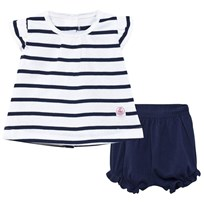Petit Bateau Navy Stripe Tee and Bloomers Set 50