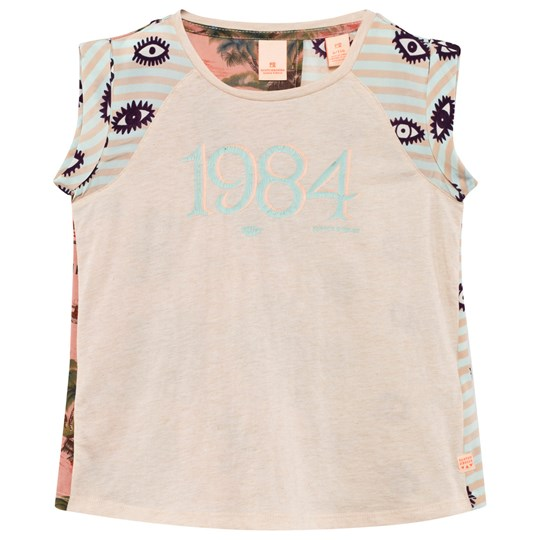 Scotch R'belle Off White Silk and Jersey Mix Eye and Hawaiian Print Top DESSIN N