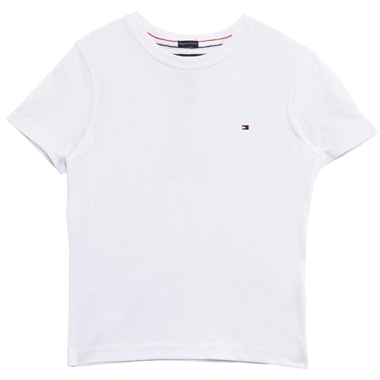 Tommy Hilfiger White Classic Tee with Flag Branding 100