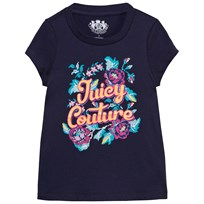 Juicy Couture Navy Cross Stitch Print and Gold Logo Tee Regal