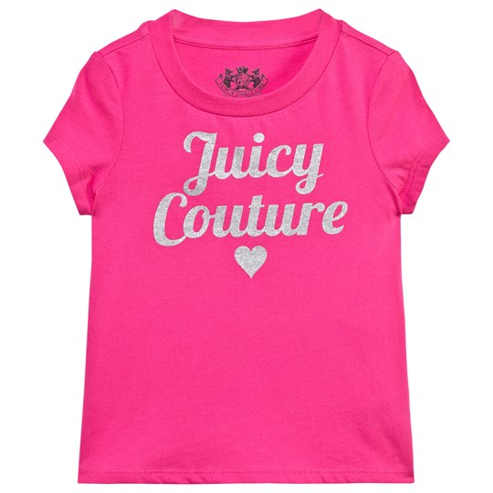 Juicy Couture Hot Pink Silver Sequin Logo Tee SWEET RASPBERRY