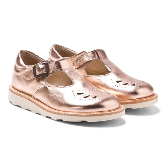 Young Soles Rosie T-Bar Shoes Rose Gold ROSE GOLD LEATHER