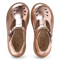 Young Soles Rose Gold Rosie T-Bar Shoes ROSE GOLD LEATHER
