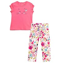 Catimini Pink Cat Face Tee and Floral Trouser Set 34