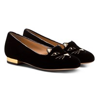 Charlotte Olympia Black Incy Kitty Flats BLACK/GOLD