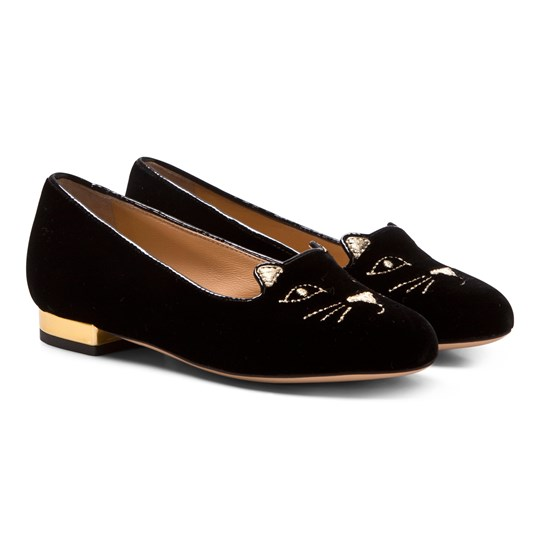 Charlotte Olympia Incy Kitty Flats in Black BLACK/GOLD