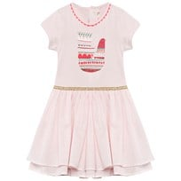 Billieblush Pink Bird Print Tiered Dress With Braided Neckline 45S