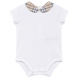 Burberry Cotton Body with Check Peter Pan Collar White