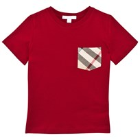 Burberry Red Classic Check Pocket Tee Military Red