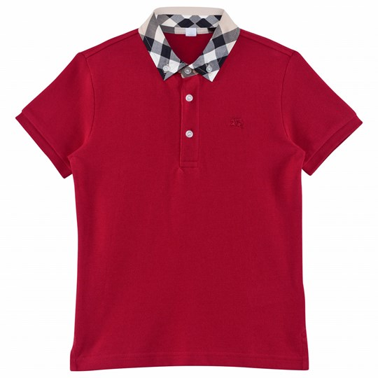 Burberry Check Collar Polo Shirt Military Red Military Red