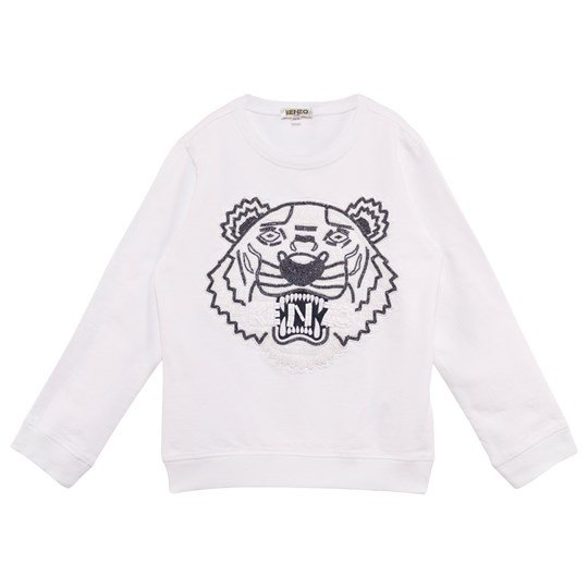 c216b5d1 White Beaded and Embroidered Tiger Sweathshirt