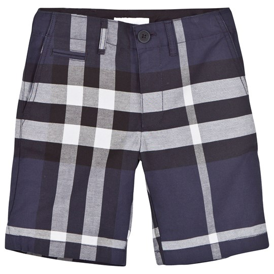 Burberry Navy Check Cotton Shorts Laivastonsininen