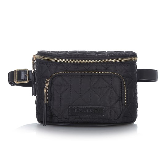 Tiba + Marl Delphine Quilted Nylon and Gold Bum Bag Gold
