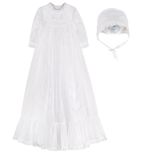 Ralph Lauren White Christening Gown and Bonnet A1000