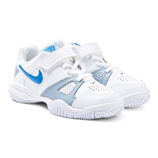 NIKE White and Blue City Court 7 Velcro Trainers White/Blue