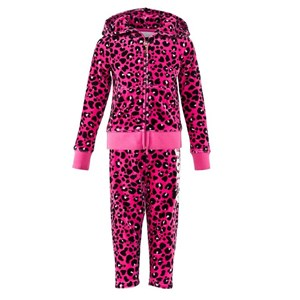 Image of Juicy Couture Hot Pink and Black Leopard Jewelled Tracksuit 2 years (3000208931)