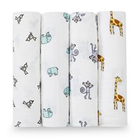 Aden + Anais 4 Pack of Cotton Jungle Print Swaddles Jungle Jam