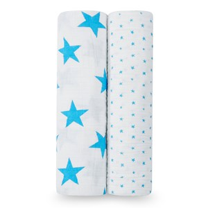 Image of Aden + Anais 2-Pack Fluro Blue Star Classic Swaddles (2941130419)