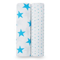 Aden + Anais Two Pack of Fluro Blue Star Swaddles Fluro - Blue