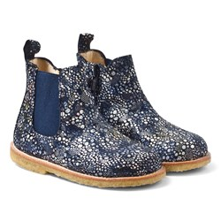 Angulus Navy Multi Patterned Leather Chelsea Boots