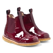 Angulus Patent Leather Chelsea Boots in Burgundy 0953-2301