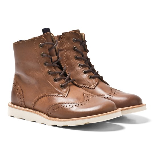 Young Soles Sidney Boots Brogue Tan Leather