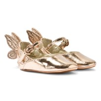 Sophia Webster Mini Chiara Baby Rose Gold Embroidered Butterfly Crib Shoes Rose Gold