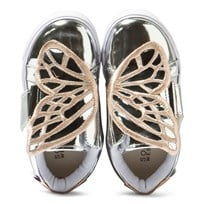 Sophia Webster Mini Bibi Low Top Mini Silver Metallic Butterfly Trainers Silver/ Rose Gold