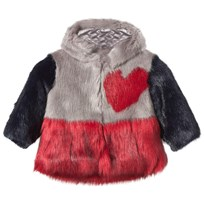 Bandit's Girl Pink and Red Faux Fur Hooded Heart Coat GREY RED MIX