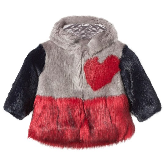 Bandit`s Girl Pink and Red Faux Fur Hooded Heart Coat GREY RED MIX