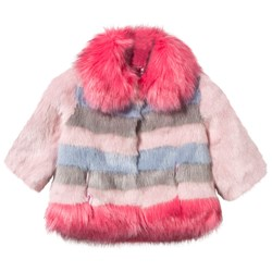 Bandit`s Girl Pink and Blue Stripe Faux Fur Coat