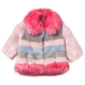 Image of Bandit`s Girl Pink and Blue Stripe Faux Fur Coat 6-7 years (2839681087)
