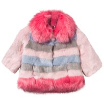 Bandit's Girl Pink and Blue Stripe Faux Fur Coat PINK MIX