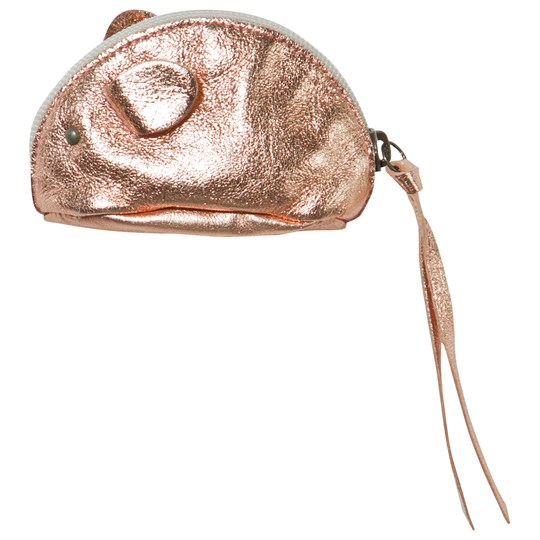 Easy Peasy Leather Mouse Purse Rose Gold Metallic Pink