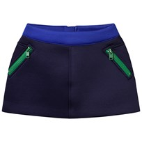 Stella McCartney Kids Navy Neoprene Dee Skirt with Green Zips 4100